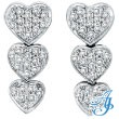 14K White Gold 1.27ct Diamond Triple Graduated Heart Earrings