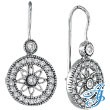 14K White Gold .50ct Diamond Flower in Circle Dangle Earrings