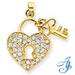 14K Gold CZ Heart With Key Pendant