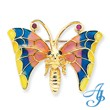14K Gold  Enameled Butterfly With Ruby & Sapphire Pin