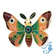 14K Gold  Enameled Moth Pin