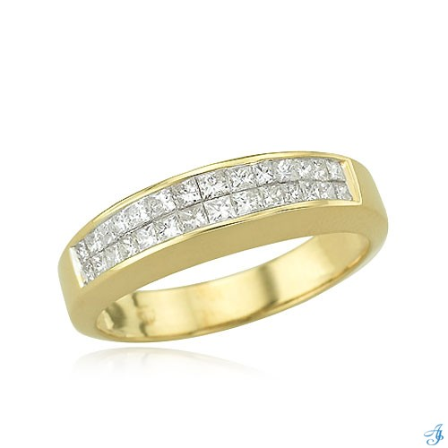14K Ladies' 28 Princess Cut Diamond Double Row Wedding Band 84720